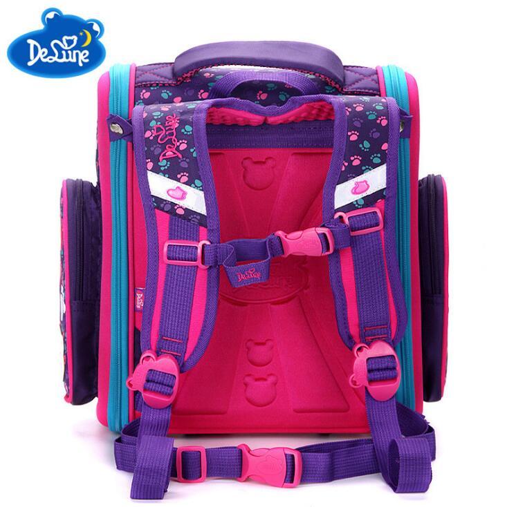 2018 Delune бренд Первичная Класс 1-3 дети милые Пёс из мультфильма Сова Характер школьная сумка для девочек ортопедические школьные рюкзак сумка