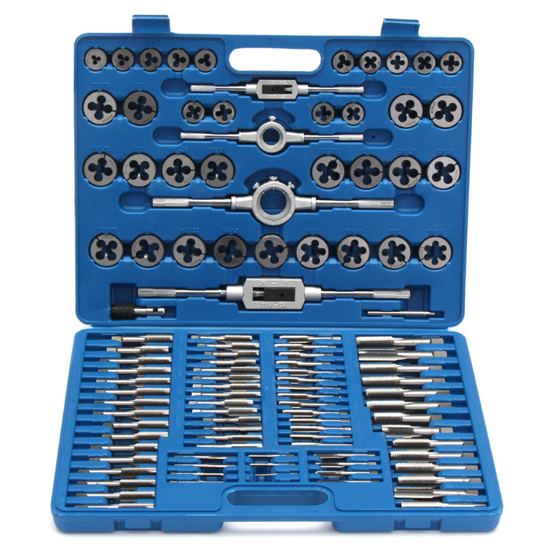 110pcs/set M3 M12 Tap and Die Set Thread Kit Cutter Metric Carbon Steel Tool with Screw Bolt Blue Case High Quality Box