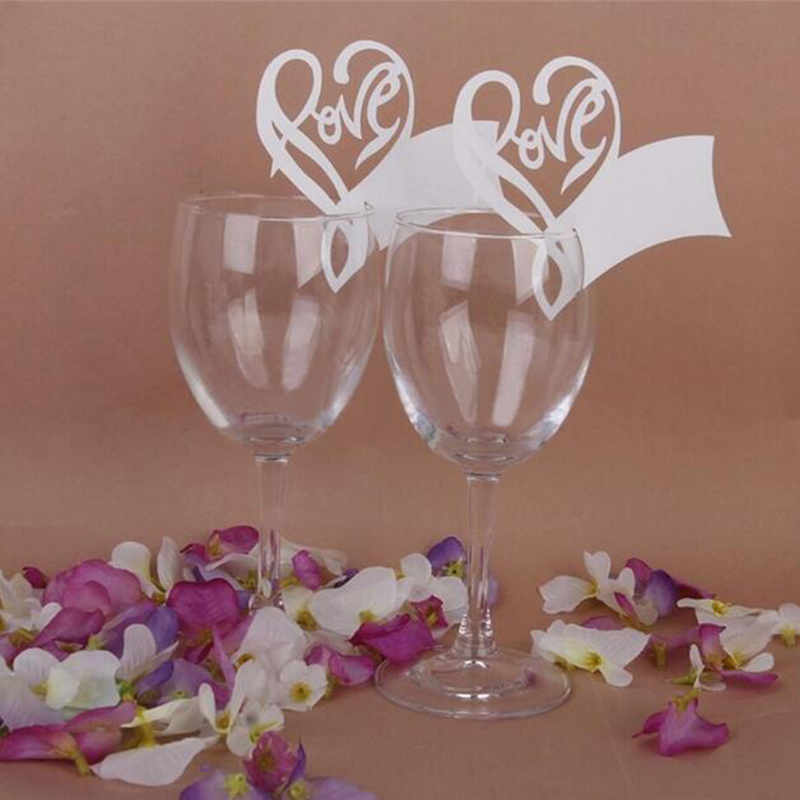50pcs/lot White Love Heart Table Mark Wine Glass Name Place Card For Wedding Party Bar Decor Accessories