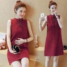 329 летняя одежда для беременных женщин платье без рукавов в Корейском стиле тонкое платье для беременных платье с бантом для мам