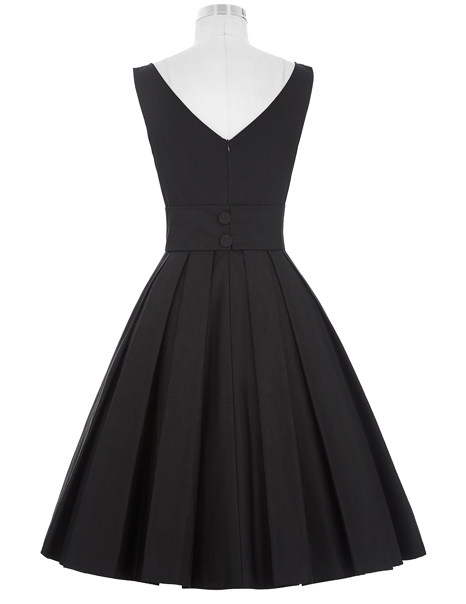 Vintage Dresses 50s 60s Retro Sleeveless Crew Neck V-Back Tunic Party Picnic Midi Dress vestidos