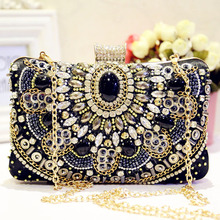 Full Rhinestones Luxury Clutch Bags Beading Lady Women Evening Dress Bags Diamonds Small Purse Chain Shoulder Wedding Party Bag new pearls clutch bag white evening bags beaded women shoulder bags wedding party purse diamonds clutch bag