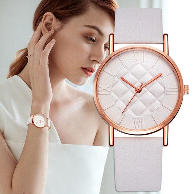 2018 Fashion Women Leather Band Dress Quartz Wrist Watches Luxury Top Brand Whit