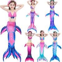 Summer Kids Beautiful Girls Mermaid Tail Bikini Sets Swimmable Swimwear Children Cosplay Costume Swimming Beach Photo Hot Sales