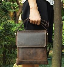 9065.Vintage Style Full leather flap cover Crazy Horse Genuine Leather Shoulder Bag for men small size classic real bag