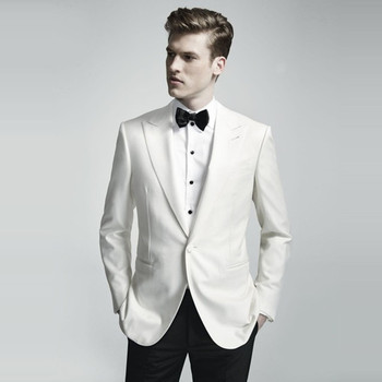 2017 new custom white men suits Groom Tuxedos Jacket+Pant Wedding Suit For Mens prom Fashion Tuxedos wedding party side vent