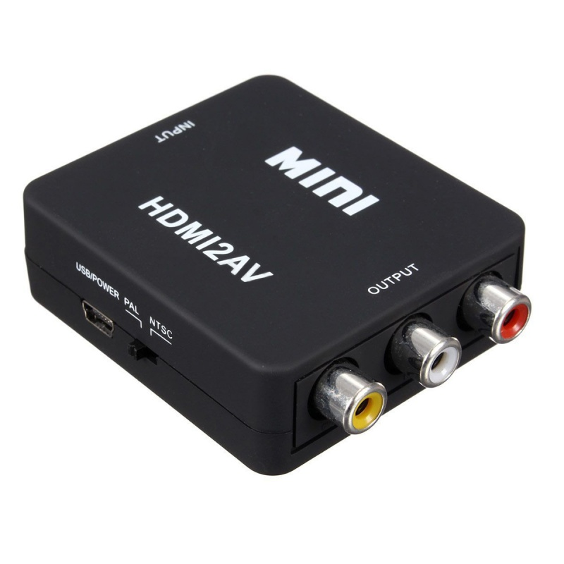 MINI HDMI To 3RCA CVBS Composite Video AV Converter Adapter TV VHS VCR DVD (Black)