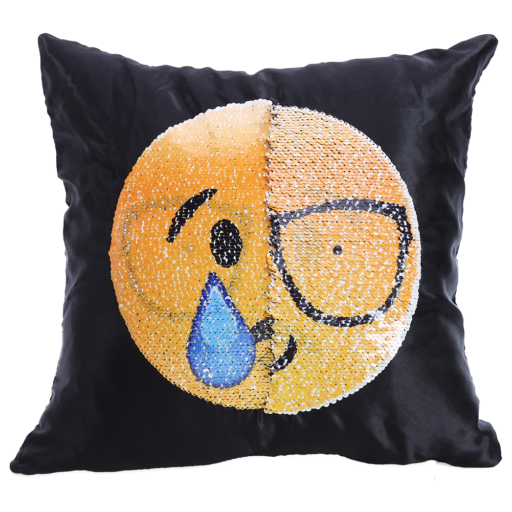 Sequin Mermaid Pillow Case Changing Face Emoji Expression Reversible Decorative Pillowcase for Living Room Bedroom