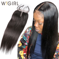 Wigirl Hair Brazilian Straight Closure Remy Hair Natural Color 4x4 Middle/Free/Three Part Lace Closure With Baby Hair 8' 20'
