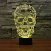 Free Shipping Color changing Flashing Arcylic Red Skull 3D LED Night Light USB birthday atmosphere skeletons table Lamps