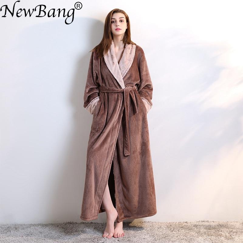 NewBang Brand Womens Bathrobe Winter Extra Long Knitted Waffle Flannel Coral Fleece Bath Robe Thicken Warm Nightgown Home Wear