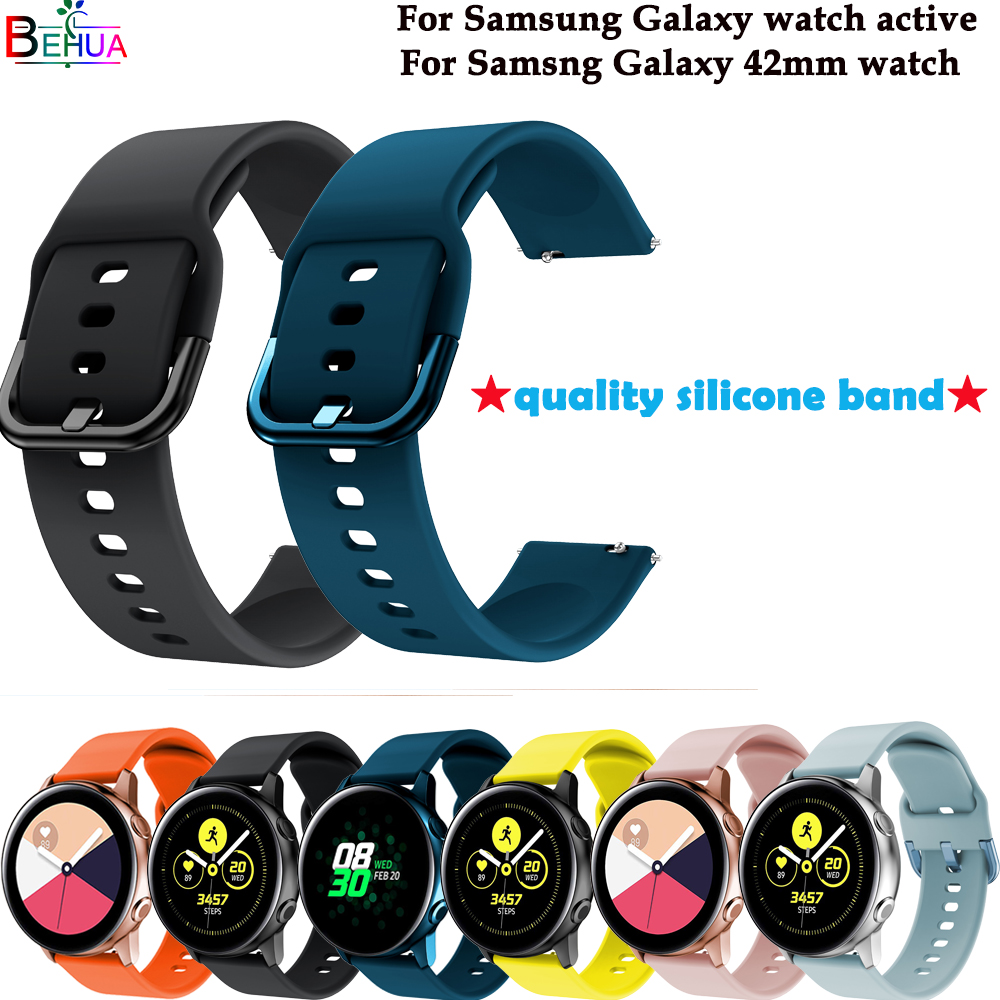 sport silicone watch band strap For Samsung galaxy watch active watch straps For Samsung Galaxy 42MM smart watch wristband New in Watchbands from Watches