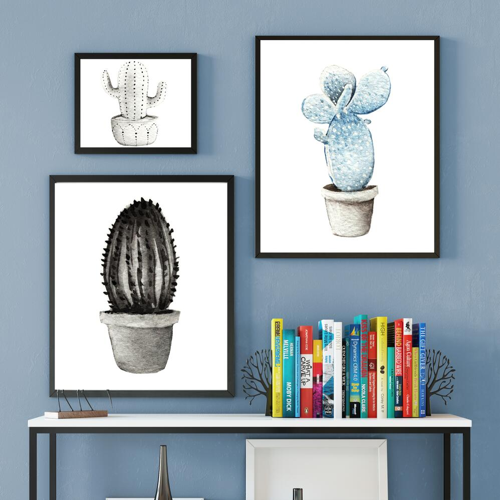3 Stücke Kaktus Wohnkultur Aquarell Leinwand Malerei Wandkunst ...