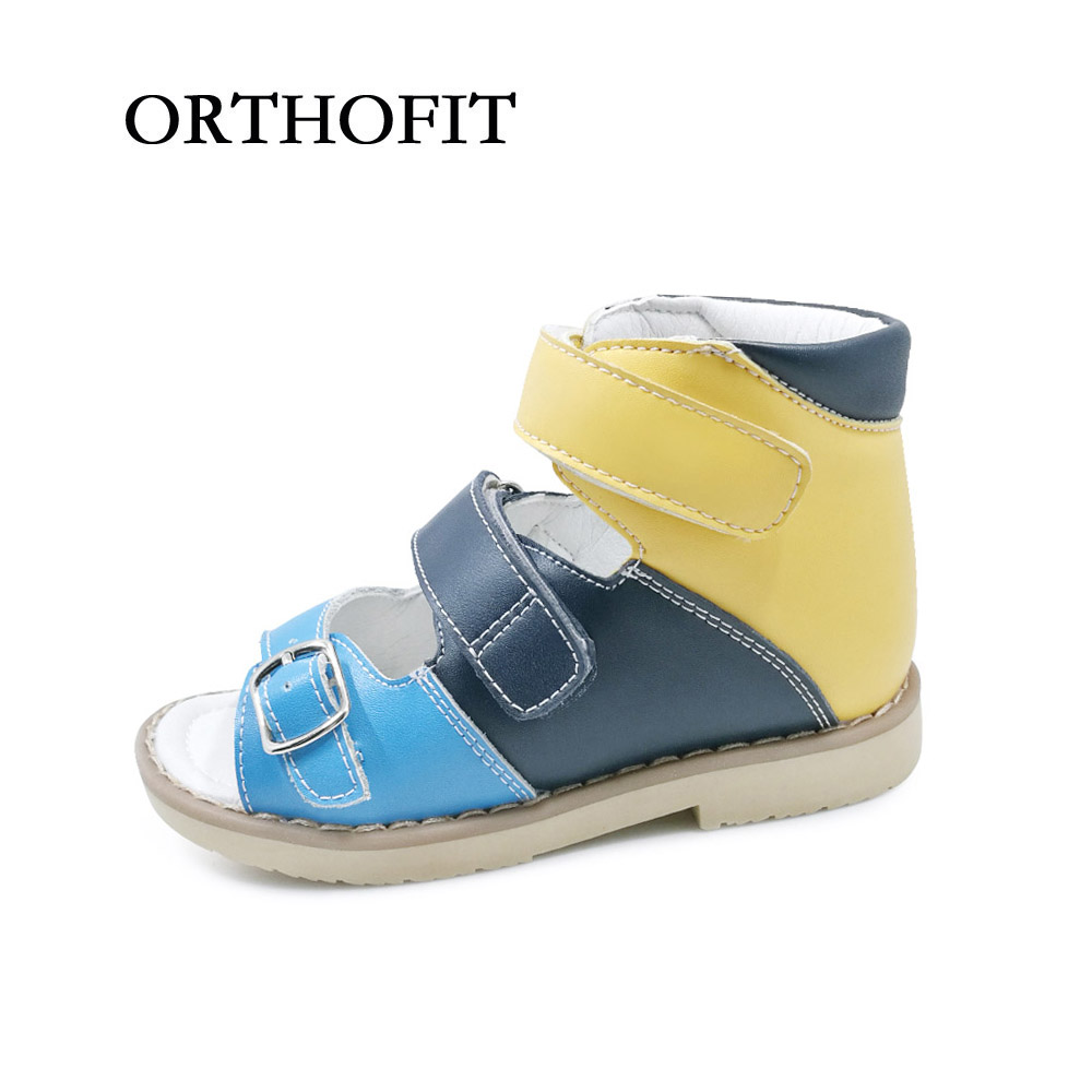 New arrival russian style boys buckle strap genuine leather sandals shoes orthopedic footwear for kids