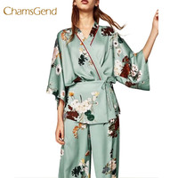 2017 Autumn Vintage Bow Tie Waist Flower Print Kimono Shirt 2017 Woman Long Sleeve Cross V