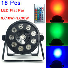 16Pcs Sale LED Flat Par 9X10W + 1X30W RGB Led Par Light Беспроводной свет дистанционного управления