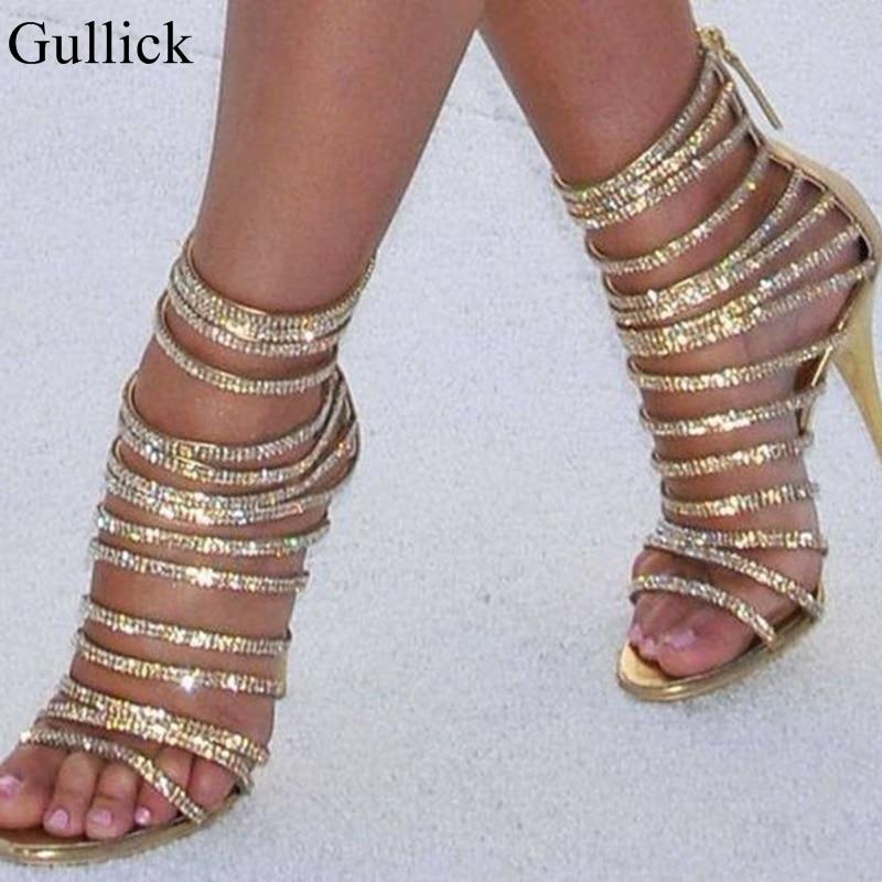 Gold Bling Bling Crystal Sandals High Heels Strappy Gladiator Sandal Shoes Women Stiletto Heel Wedding Rhinestone Cage Sandal rhinestone detail strappy sandals
