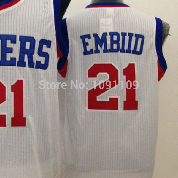 best authentic fbe51 9be25 US $23.88 |Joel Embiid Jersey Philadelphia #21 Jersey, Joel Embiid Blue Red  and White Quality Embroidery Jersey Free Shipping-in Basketball Jerseys ...
