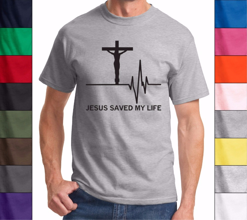 Fashion 3D <font><b>Jesus</b></font> Saved My Life T-Shirt Men Savior God Religion Prayer Faith Christian Gift Shirts Brand Clothing O Neck Shirt