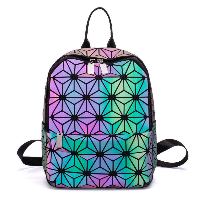 Women Backpacks Bao Bag Luminous Geometric Backpack For Teenage Girls School Bag Holographic Diamond Backpack Mochila Feminina