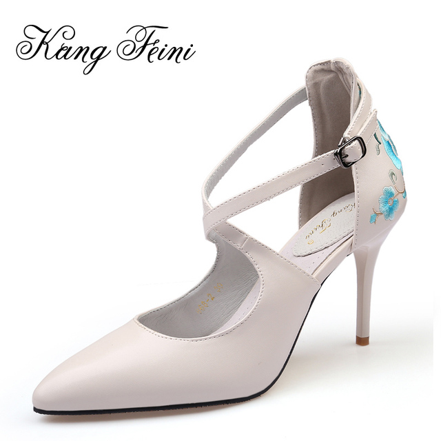b9fa40c95b4 KANG FEINI 2017 New Women High Heels Sexy Pointed Toe Party Women Pumps  Fashion Embroidery Pigskin Handmade Wedding Shoes Woman
