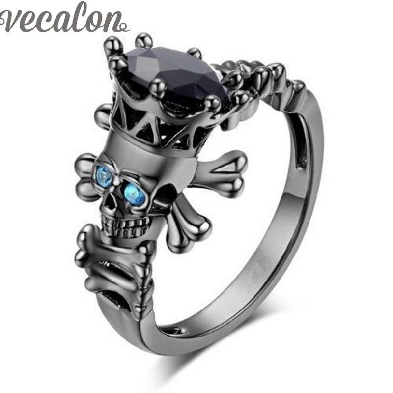 vecalon fashion skull jewelry black aaa cubic zirconia wedding band ring set for women black gold - Womens Black Wedding Rings