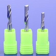 Fresa de flauta única de 3.175mm, cortador para ferramentas de alumínio cnc, carboneto sólido, painéis de composto de alumínio, com 10 peças