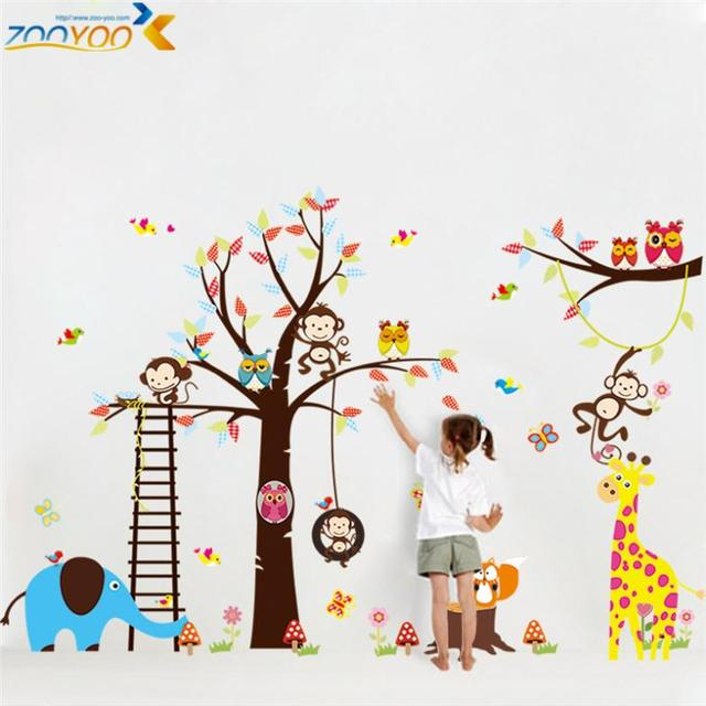 Large Size Animal Wall Stickers For Kids Room Decorations Monkey Owl Zoo  Cartoon Decals Wall Art Diy Children Sticker 1213