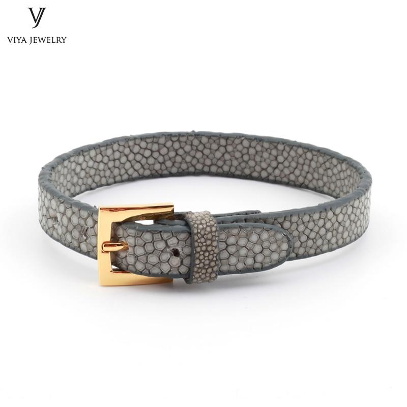 Simple Clasp Flat Stingray Python Cord Wrap Bracelet Charm Cuff Leather Men Bracelet 8mm Real Python Stingray Leather Wristband Adjust Bracelet (37)