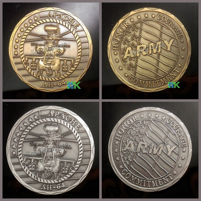 2 pcs/lot Free Shipping Mixed Apache AH64 Antique Silver Plated and Gold Plated Army Challenge Coins