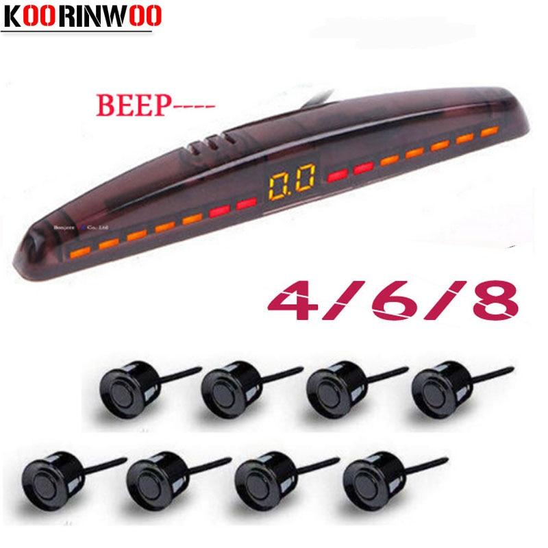 Koorinwoo Electromagnetic LED Car Parking Sensor 4 6 8 Radars Sound Alert Indicator Probes System 12V Parktronic Black Grey
