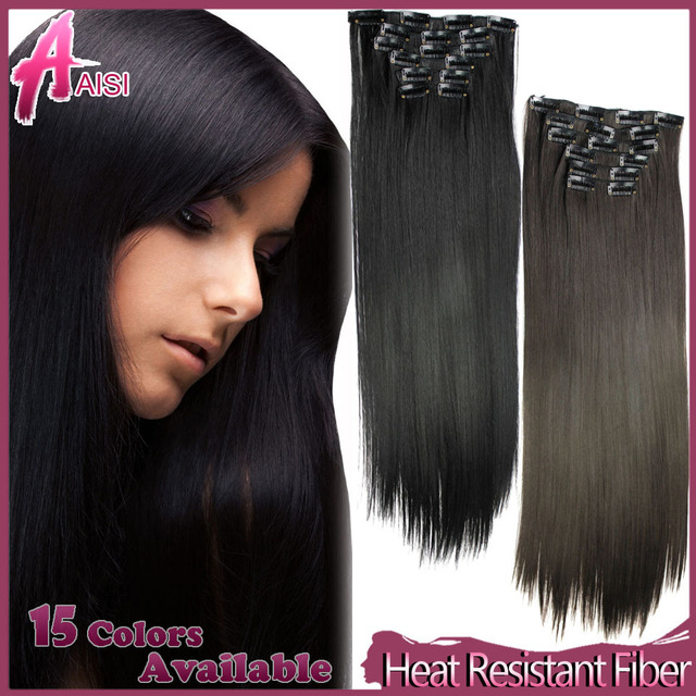 6pcsset 23inch 150g 16 Clips In False Hair Styling Synthetic