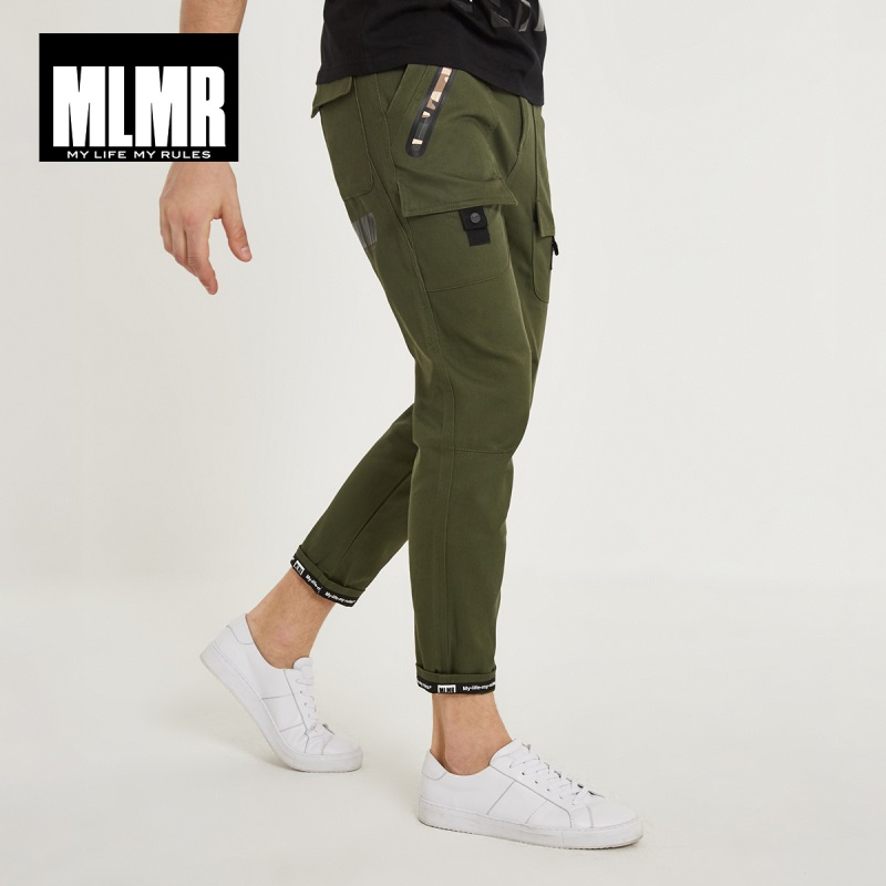 MLMR Men's 100% Cotton Korean-style Printing Casual Trousers Slim Fit Pants Mens Cargo Pants 2019 Brand New Winter 218314507(China)