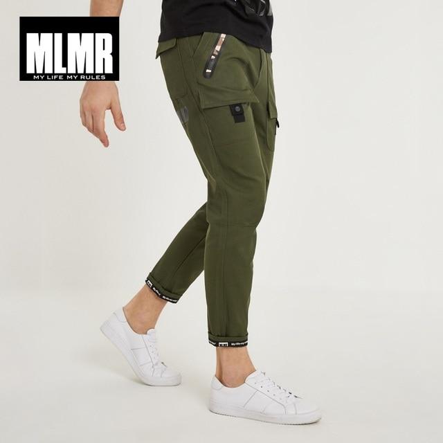 MLMR mannen 100% Katoen Koreaanse stijl Afdrukken Casual Broek Slim Fit Broek Heren Cargo Broek 2019 Brand New winter 218314507