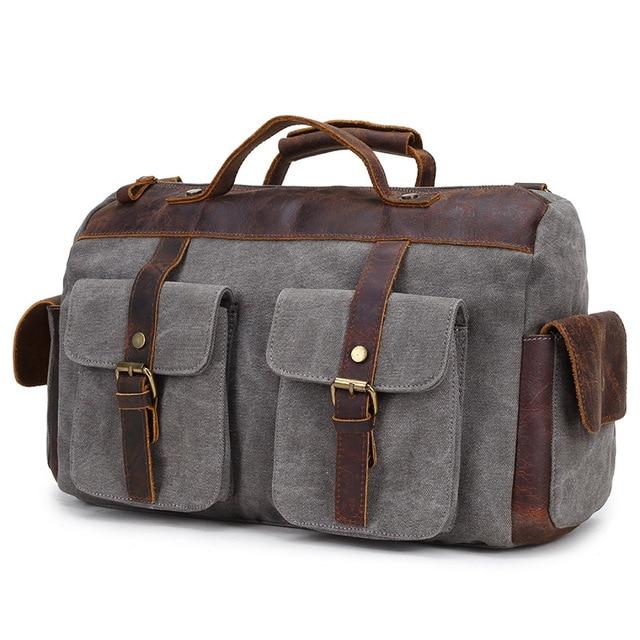 Hommes de sac bandoulière, berchirly Toile Sac de sport en cuir Weekend bagages sacs sac de sport unisexe Vert militaire
