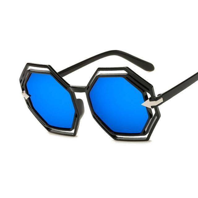 3388149a6dd Mode Marque Designer Femmes lunettes de Soleil Vrai Couleurs Polygone  Couleur Film lunettes de Soleil Classique