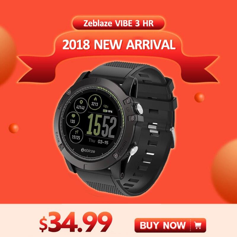 [Auf Lager] 2018 Zeblaze VIBE 3 HR Smartwatch Haltbarkeit Wasserdichte Intelligente Uhr Männer Tragbare Ausgezeichnete Batterie Herz Rate monitor