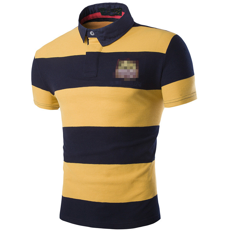 Brand Summer High Quality New Men Fashion Striped POLO Shirts Breathable Male Cotton Casual Short Sleeve embroidery Polo Shirt