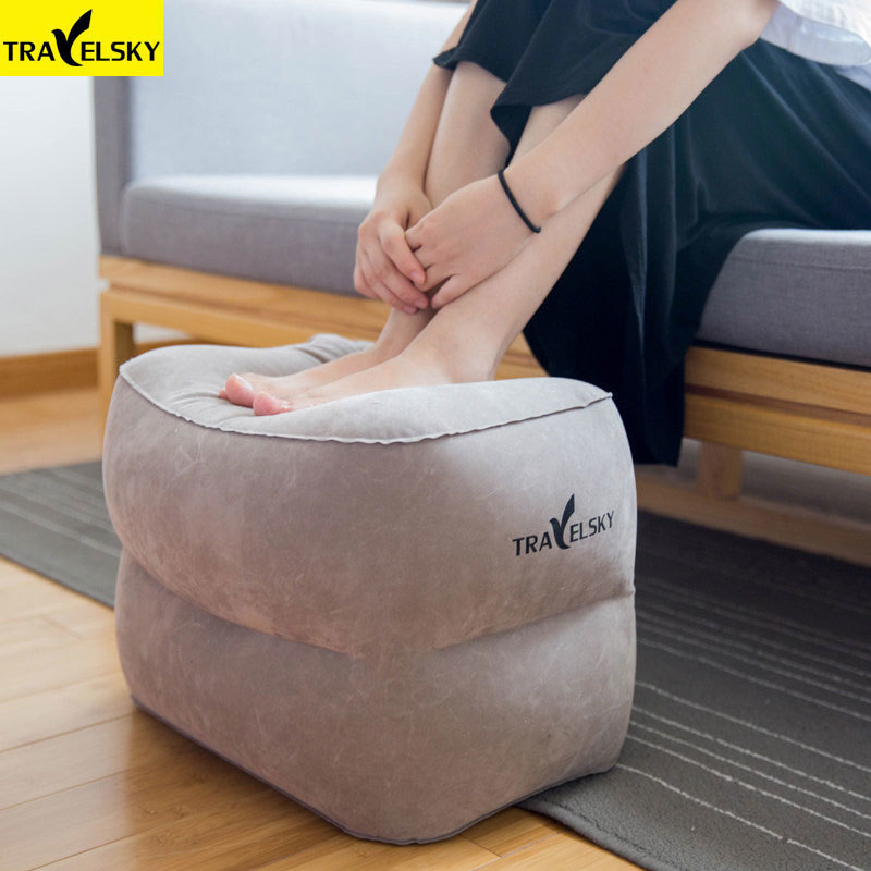 Travelsky Folding Footrest Large Valve Travel Inflatable Pillow Airplane Kids Adults Rest Sleeping Flocking Airplane Pillows image