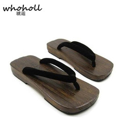 WHOHOLL Geta Man Sandals Japanese Style Wooden Sandals Male Flip-flops Platform Sandals Clogs Shoes Paulownia Wood Slides