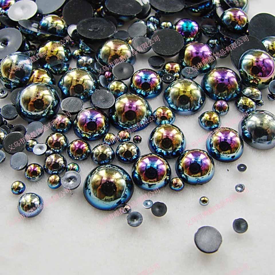 Mix AB Pearls for Decoration  Pearls for Nails 3D Nail Art Jewelry Accessories Decoration Ongle All for Nail Design MJZ1069 rhinestone bow 3d art resin nail decoration 60pcs mix candy color cute bowknot nails tip accessories phone decoration