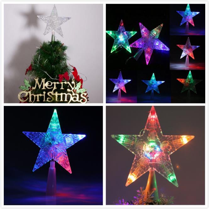 Weihnachten LED leuchten Stern Weihnachtsbaum Topper Xmas Home Decor Ornamente