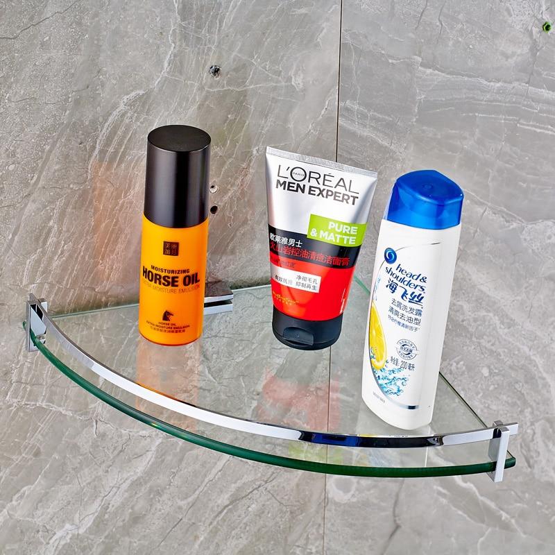 2016 High-grade Bathroom Shelf Single Tier Glass Wall Mounted Bathroom Accessories
