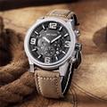 MEGIR Casual Quartz Watch Men Large Dial Waterproof Chronograph Leather Business Wrist Watches Male Clock Luminous relojes