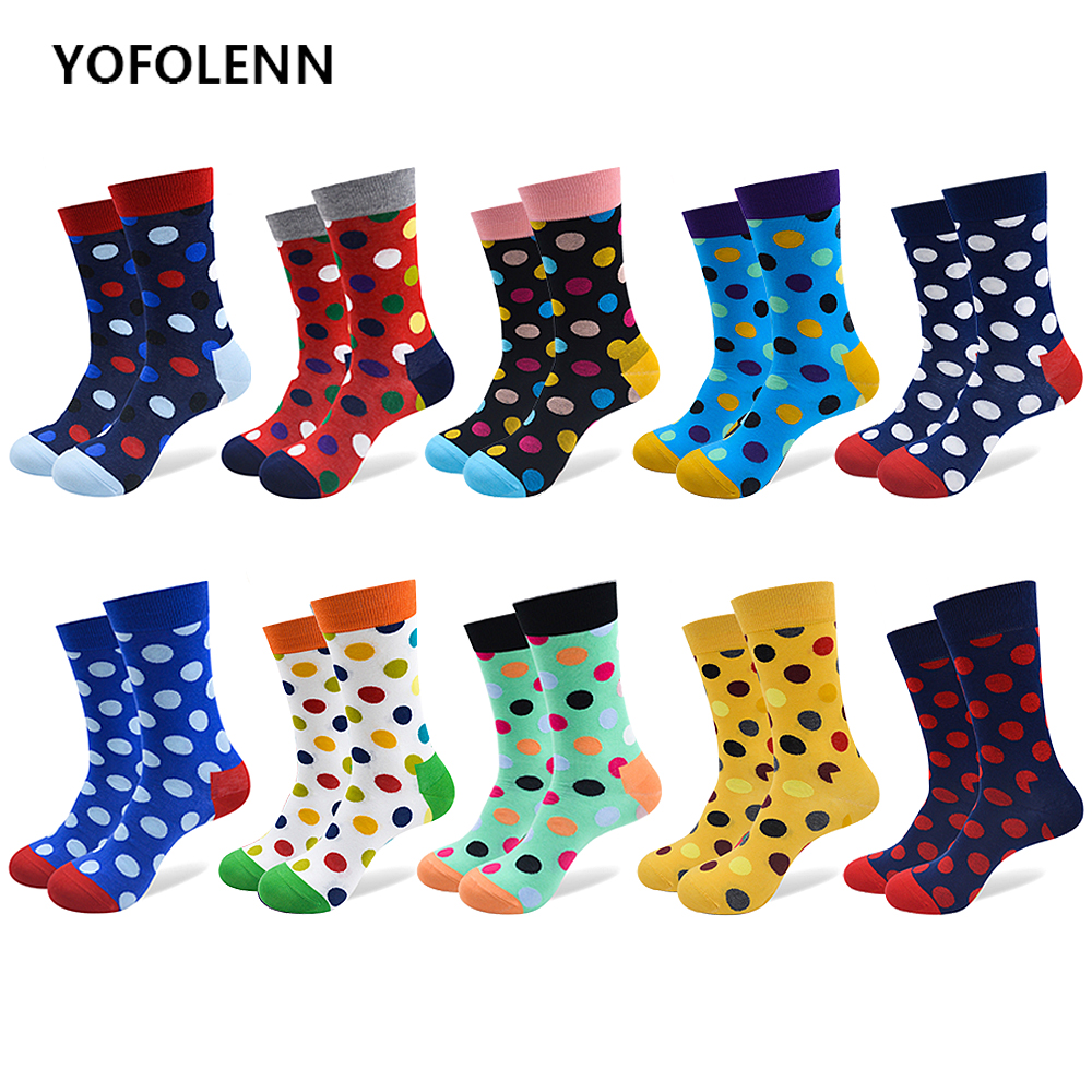 10 Pairs/Lot Mens Colorful Combed Cotton Socks Casual with a Patter Big Dot Happy Funny Long Cool Wedding Socks US(7-10)