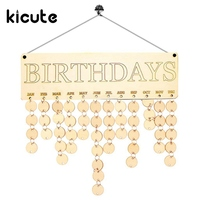 Kicute 1pcs Wooden Birthday Calendar Family Friends Birthday Calendar Sign Special Dates Planner Board Hanging Decor