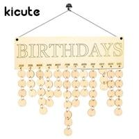 Kicute 1pcs Wooden Birthday Calendar Family Friends Birthday Calendar Sign Special Dates Planner Board Hanging Decor