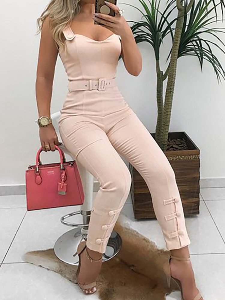 Summer Vacation Elegant Leisure Overalls Skinny Slim Fit V-Neck Sleeveless Casual Romper Thin Strap Button Design Jumpsuit