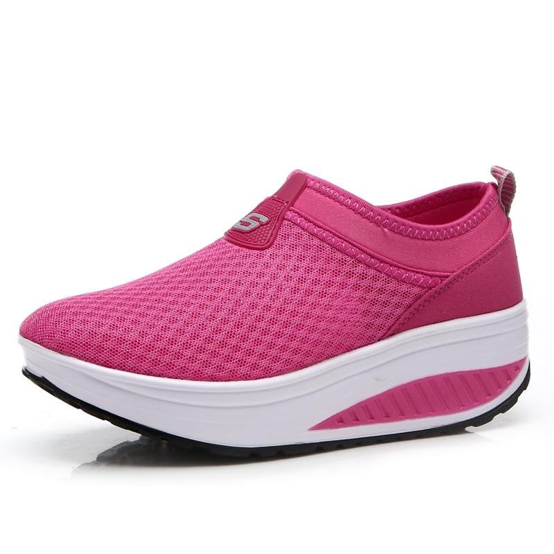 2016 Verano Zapatos Mujeres Causal Zapatos Moda Caminar Pisos Altura - Zapatos de mujer - foto 4