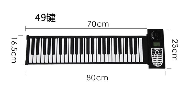 Enfants jouets musicaux pour enfants piano pratique lecteur 49 clavier Portable pliant doux enfants début débutant Instrument avec haut-parleur - 2